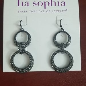 NWT CZ studded Lia Sophia dangly earrings